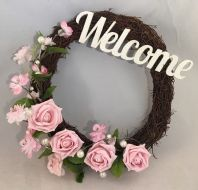 PINK FRONT DOOR TWIG WREATH FLOWERS ROSE PEARLS WALL DECOR WELCOME SIGN HEART